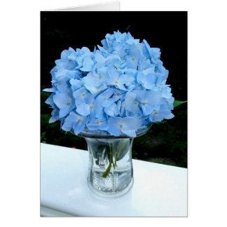 Blue Hydrangea in a Vase Blank Note Card