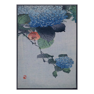 Blue Hydrangea Japanese Woodcut with Bird Poster