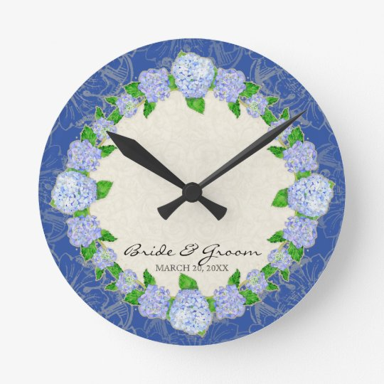 Blue Hydrangea Lace Floral Formal Wedding Gift Round