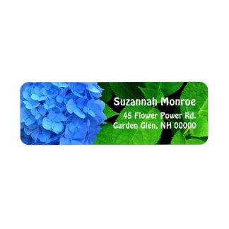 Blue Hydrangea Leaves Address Labels