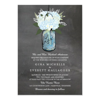 Blue Hydrangea Mason Jar Chalkboard | Wedding Card