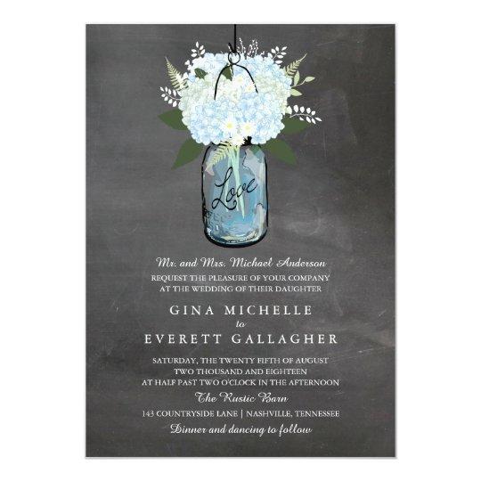 Blue Hydrangea Mason Jar Chalkboard | Wedding Card