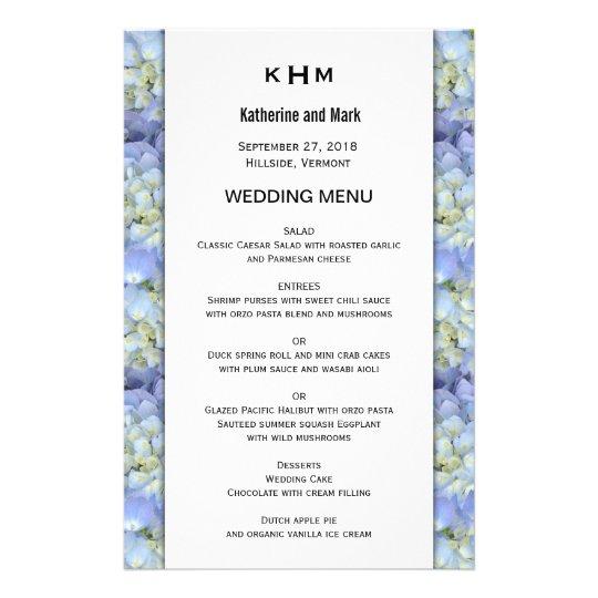 Blue Hydrangea Monogram Wedding Menu Template