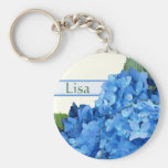 Blue Hydrangea Name Template Basic Round Button Key Ring