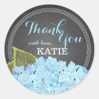 Blue Hydrangea on Chalkboard Thank You Sticker