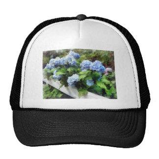 Blue Hydrangea on White Fence Mesh Hat