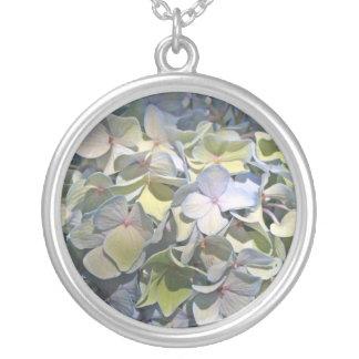 Blue Hydrangea Round Pendant Necklace