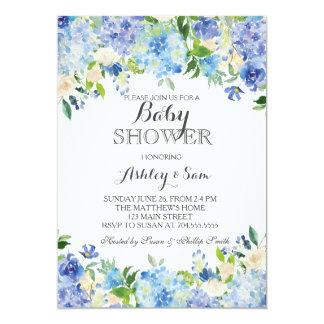 Blue hydrangea Shower Invitation