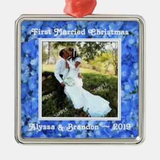 Blue Hydrangea Square Photo Template Ornament