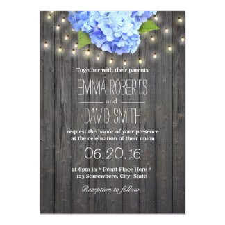 Blue Hydrangea & String Lights Barn Wood Wedding Card