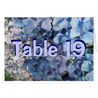 Blue Hydrangea Table Number Cards