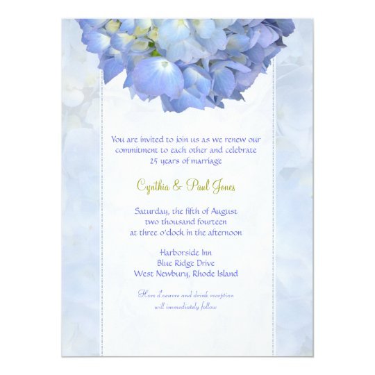 Blue Hydrangea Vow Renewal Invitation