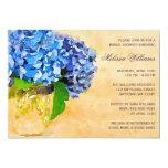 Blue Hydrangea Watercolor Mason Jar Bridal Shower 5x7 Paper Invitation Card