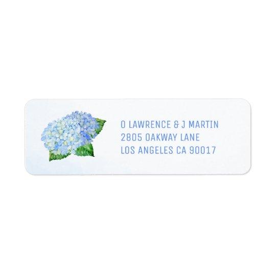 Blue Hydrangea Watercolor Return Address Label