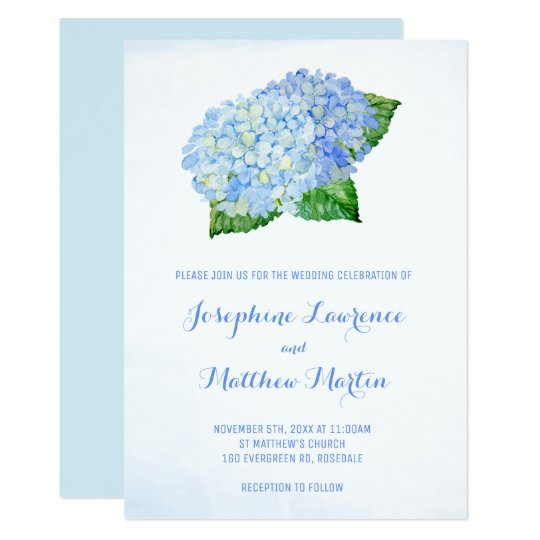 Blue Hydrangea Watercolor Wedding Invitations