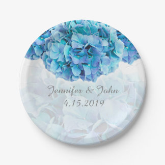 Blue Hydrangea Wedding Collection Paper Plate 7 Inch Paper Plate