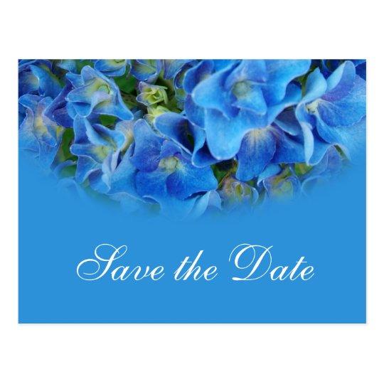 Blue hydrangea  wedding save the date postcards. postcard