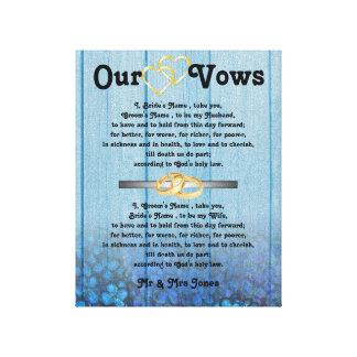 Blue Hydrangea Wedding Vows on Canvas Canvas Print