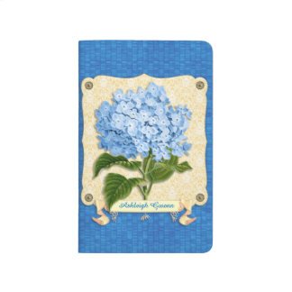 Blue Hydrangea Yellow Damask Banner Tile Cutouts Journal