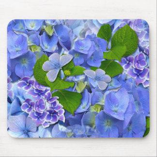 Blue Hydrangeas and Butterflies Mouse Mat