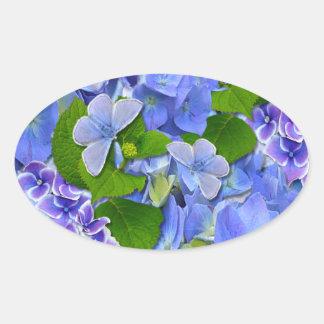 Blue Hydrangeas and Butterflies Oval Sticker