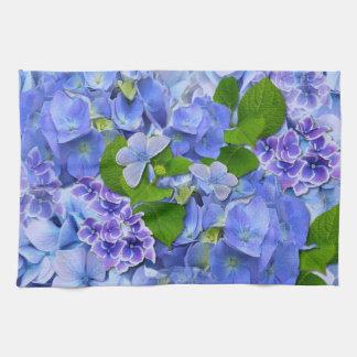 Blue Hydrangeas and Butterflies Tea Towel
