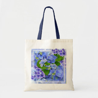 Blue Hydrangeas and Butterflies Tote Bag