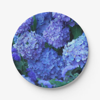 Blue Hydrangeas Floral 7 Inch Paper Plate
