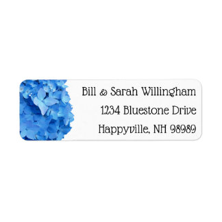 Blue Hydrangeas Floral Return Address Labels