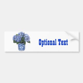 Blue Hydrangeas in a Floral Ceramic Pot Bumper Sticker
