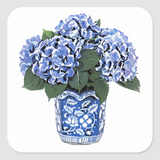 Blue Hydrangeas in a Floral Ceramic Pot Square Sticker