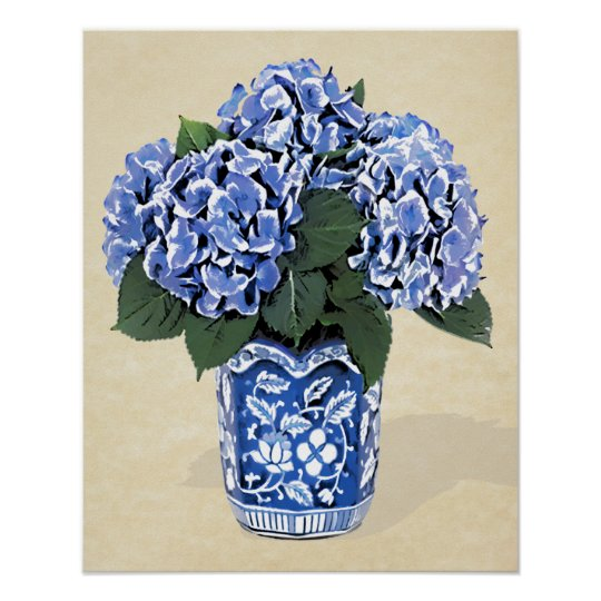 Blue Hydrangeas in Blue Pot on Parchment Paper Poster