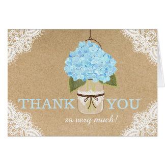 Blue Hydrangeas Lace Kraft Rustic Modern Thank You Card