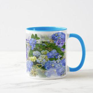 BLUE HYDRANGEAS ~  Ringer Mug