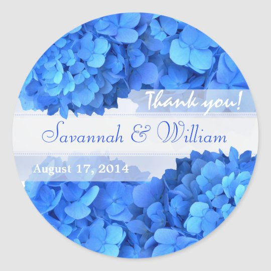 Blue Hydrangeas Thank You Reception Stickers