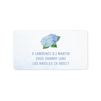 Blue Hydrangeas Watercolor Label