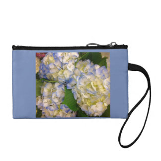 Blue hydrangeas wristlet purse