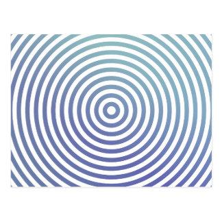 Blue hypnotic circles postcard