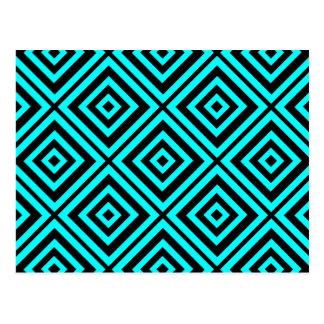 Blue  hypnotic  geometry postcard