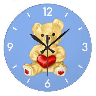 Blue Hypnotizing Cute Teddy Bear Wallclock