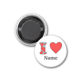 blue i love costomized 3 cm round magnet