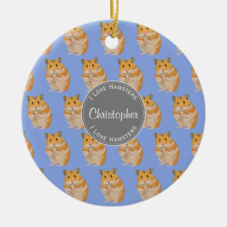 Blue I love Hamsters Hamster Pattern Christmas Ornament