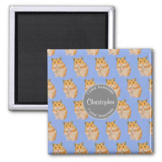 Blue I love Hamsters Hamster Pattern Magnet