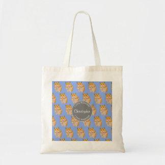 Blue I love Hamsters Hamster Pattern Tote Bag