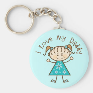 Blue I Love My Daddy Gift Basic Round Button Key Ring