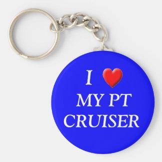 Blue I love my PT Basic Round Button Key Ring