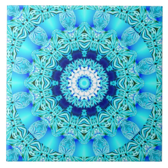 Blue Ice Angel Ring, Abstract Mandala Tile