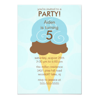Blue Ice Cream Cone Birthday Invitation