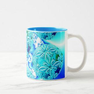 Blue Ice Crystals, Abstract Aqua Azure Cyan Spiral Two-Tone Coffee Mug