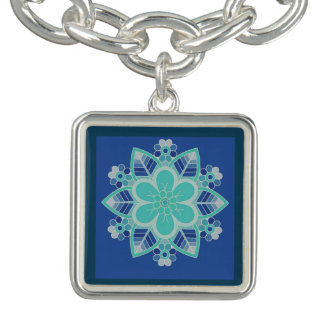 Blue Ice Floral Geometric Design Charm